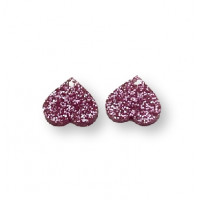 Aplique metacrilato plexy corazon rosa glitter 14x13 mm, int 1.2mm  - 2 uds