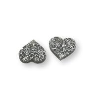 Aplique metacrilato plexy corazon plata glitter 14x13 mm, int 1.2mm  - 2 uds
