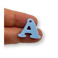 Letra A - Plexy azul pastel - Colgante letra inicial abecedario 18 mm, taladro 1.5 mm