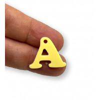 Letra A - Plexy amarillo pastel - Colgante letra inicial abecedario 18 mm, taladro 1.5 mm