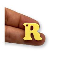 Letra R - Plexy amarillo pastel - Colgante letra inicial abecedario 18 mm, taladro 1.5 mm