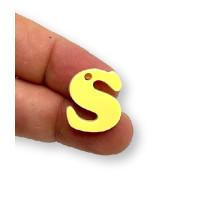 Letra S - Plexy amarillo pastel - Colgante letra inicial abecedario 18 mm, taladro 1.5 mm