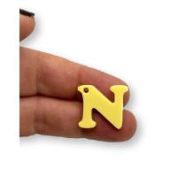 Letra N - Plexy amarillo pastel - Colgante letra inicial abecedario 18 mm, taladro 1.5 mm