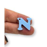 Letra N - Plexy azul pastel - Colgante letra inicial abecedario 18 mm, taladro 1.5 mm