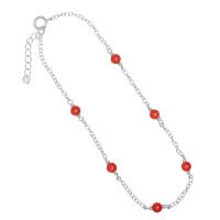 Tobillera  Plata de Ley  con bolitas coral rojo - 23 cm + 3 cm extension
