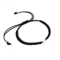 Pulsera base Negro macrame con cierre nudo ajustable y detalles de acero