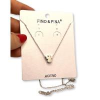 Angelito 3D - Cadena gargantilla acero plateado 46+ 5 cm extendedora