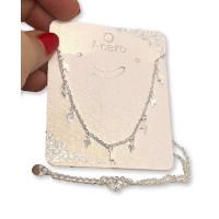 Choker mini 9 rayos - Cadena gargantilla acero plata clara 45 cm + 5 cm extension