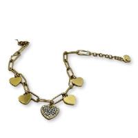 Pulsera eslabones paperclip y 5 corazones acero dorado  - 17 cm + 4 cm extension
