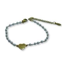 Pulsera perlitas blancas y corazon acero dorado  - 18 cm + 4 cm extension