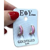Aros 15 mm con esmalte y brillantitos rosa pastel - Pendientes de acero dorado (1 par)