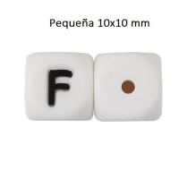 Cubo letra silicona 10x10 mm- Premium - Letra F
