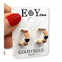 Aros corazones esmaltados 20 mm multicolor - Pendientes de acero dorado (1 par)