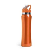 Botella de Acero con caña extraible capacidad  800 mL - Color Naranja (grabar)