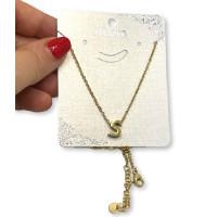 Inicial letra S - Gargantilla acero dorado con letra 3D 10 mm -  44 +4 cm