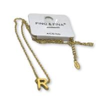 Inicial letra R - Gargantilla acero dorado con letra 3D 10 mm -  44 +4 cm