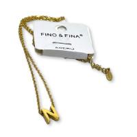 Inicial letra N - Gargantilla acero dorado con letra 3D 10 mm -  44 +4 cm