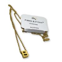 Inicial letra B - Gargantilla acero dorado con letra 3D 10 mm -  44 +4 cm