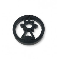Plexy negro - Colgante en circulo Virgen del Covadonga 20  mm