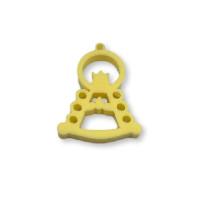 Plexy amarillo pastel - Colgante y entrepieza Virgen del Rocio 25x17 mm