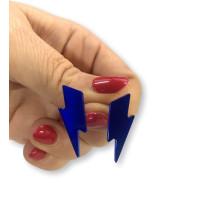 Pendientes Rayos pequeños azul 25 mm ( base acero hipoalergenico)