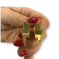 Pendientes Rayos pequeños  dorados 25 mm ( base acero hipoalergenico)