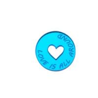 Plexy azul claro espejo - Colgante y Entrepieza moneda corazon Love is all around 19 mm