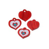 Plexy rojo perlado y blanco - Colgante corazon 14x12 mm