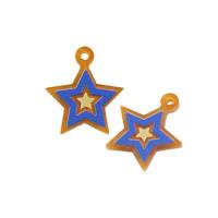 Plexy dorado perlado y azul - Colgante estrella 17 mm