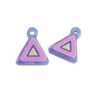 Plexy azul perlado, fucsia y amarillo - Colgante triangulo 12 mm