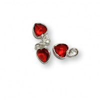 Colgante Plata de Ley y Circonitas - Corazon mini 7x5 mm (Light Siam) Rojo