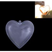 Bola corazon plástico transparente 6.5 cm ( ideales decoración Navidad)-  PREVENTA DTO AL 25%