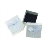 Cajita cuadrada para anillo plateada lisa 50x50 mm