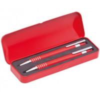 Set regalo cajita metal con boligrafo y portaminas (grabables)- Color Rojo