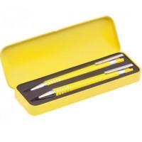 Set regalo cajita metal con boligrafo y portaminas (grabables)- Color Amarillo