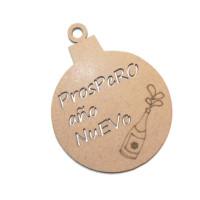 Bola de Navidad madera DM- Modelo Prospero Año nuevo 6.7x8.6 cm