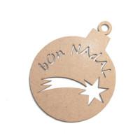 Bola de Navidad madera DM- Modelo Bon Nadal 6.7x8.6 cm