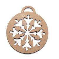 Bola de Navidad madera DM- Modelo Copo Nieve Mod 5-  5.4x5.9 cm
