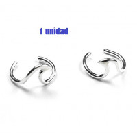 Pendiente de Cartilago earcuff en plata de ley - Aro con ola - 1 ud