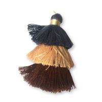 Pompon borla de hilo largo triple 7 cm tonos marron y  azul grisaceo