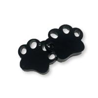 Plexy negro - Colgante huella mascota 20 mm, int 1.2 m