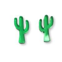 Plexy verde - Aplique cactus Mod.2 15 mm para pegar ( ideal pendientes) - 2 uds