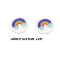 Arcoiris - Aplique plexy blanco moneda 15 mm ( 1 par, ideal pendientes)