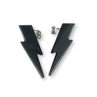 Pendientes Rayos grandes negros 45 mm ( base acero hipoalergenico)
