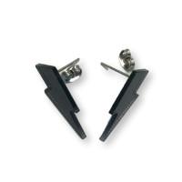 Pendientes Rayos pequeños negros 25 mm ( base acero hipoalergenico)