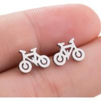 Bicicletas 10 mm - Pendientes acero inoxidable plateado- 1 par