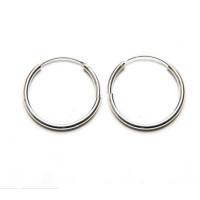 Pendiente 1 ud plata de ley - Aro 2 mm grosor liso 10 mm - 1 unidad