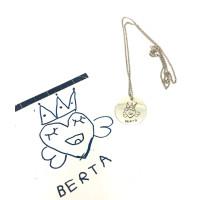 Regalo - Medalla 20 mm plata de ley con cadenita, grabada con dibujo intantil personalizado