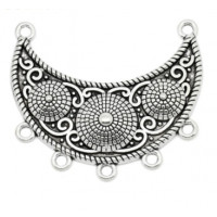 Accesorio plata tibetana collar Boho Chic Media Luna  4.7x4 cm