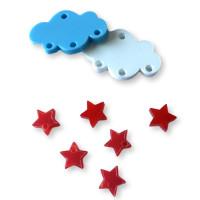 Colgante mini estrella de plexy roja  7 mm ( para combinar con las nubes PXC-101) - 1 unidad